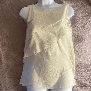 Zara Cream Color Sleeveless Layered Ruffle Top